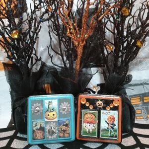 Vintage Halloween Owl and Pumpkin Set
